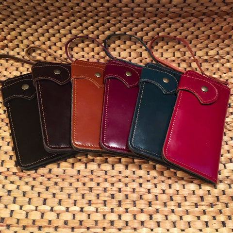 Leather Long Wallet Wristlet
