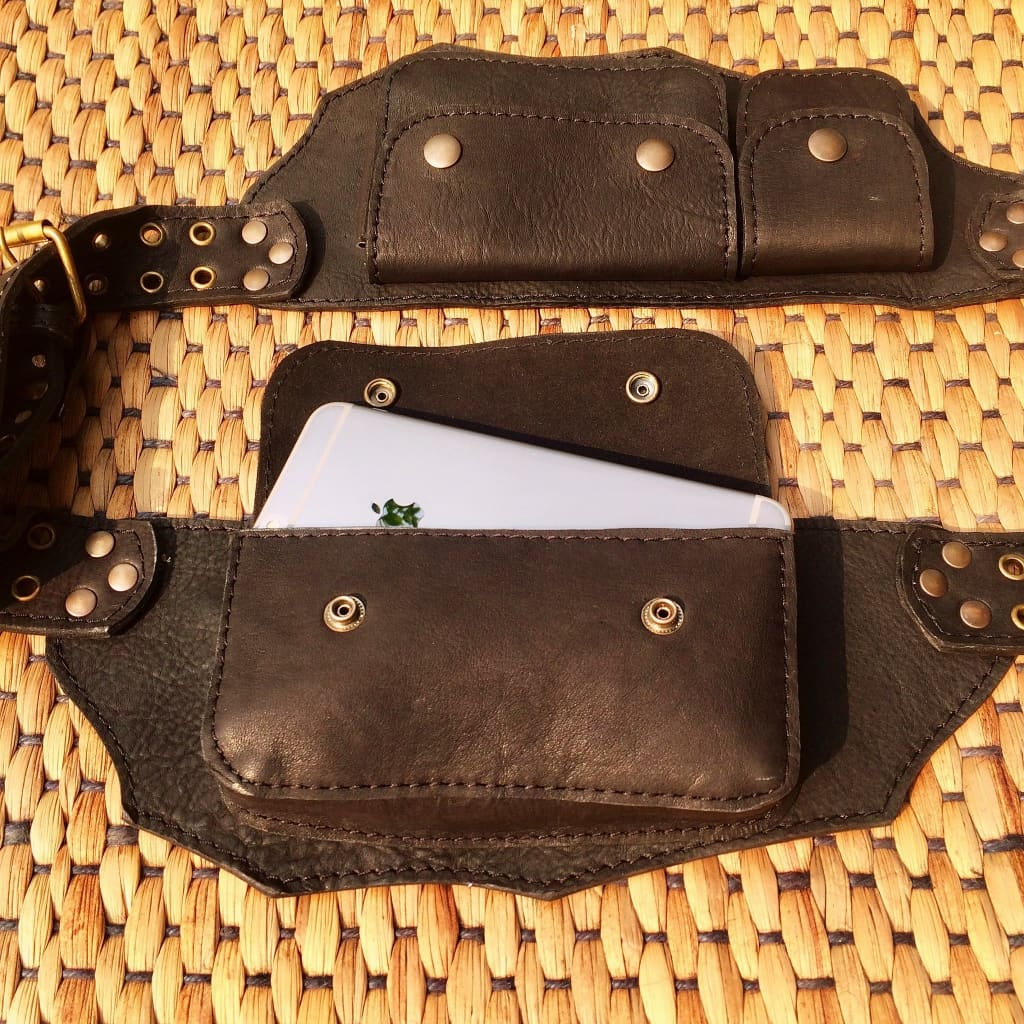 Leather Pocket Belt | Utility Hip Purse | Travel Belt Bag - TRAVELER - Leather Utility Belt