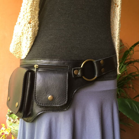 Leather Utility Belt Bag | Fanny Pack | Hip Purse | Pocket Belt- HIPSTER