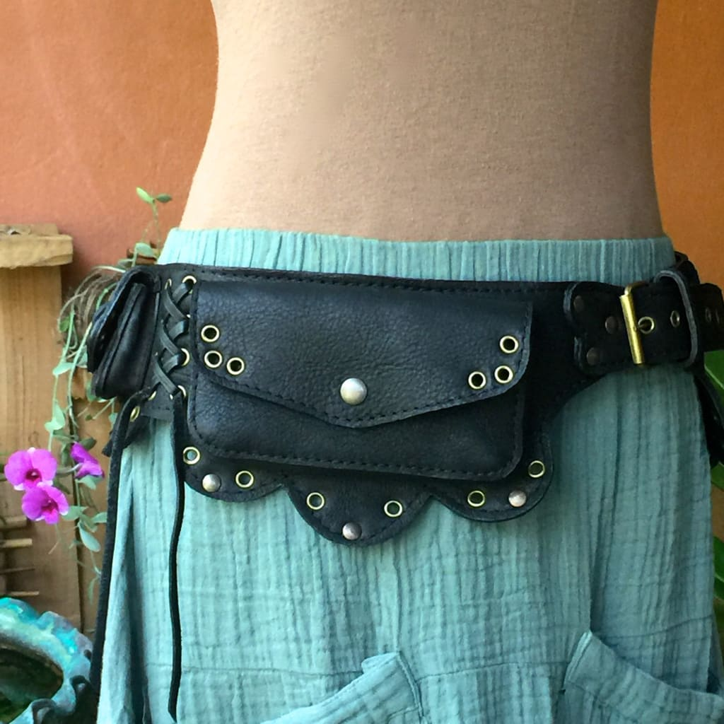 Leather Utility Belt Bag Festival Fanny Pack Lotus style