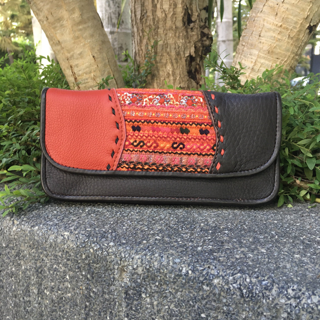 Leather & Vintage Hmong Fabric | Handmade Thailand-Thai Artist Collective