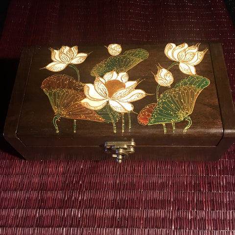 Lotus Flower Jewelry Keepsake Box | Teak Wood | Hand-Painted