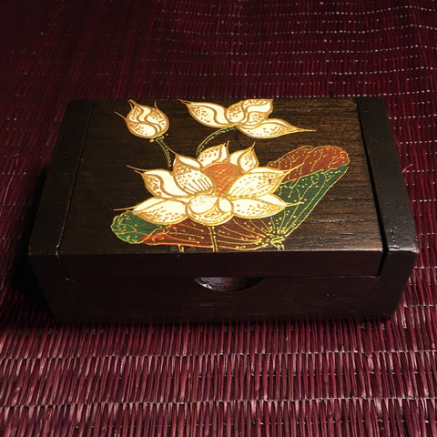 Lotus Flower Teak Wood Keepsake Box