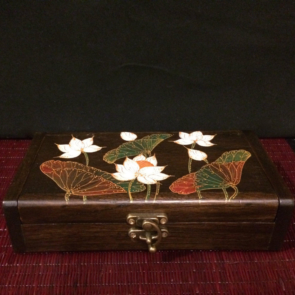 Lotus Jewelry Box / Wooden Keepsake Box / Handmade Thai Teak Wood-Thai Artist Collective