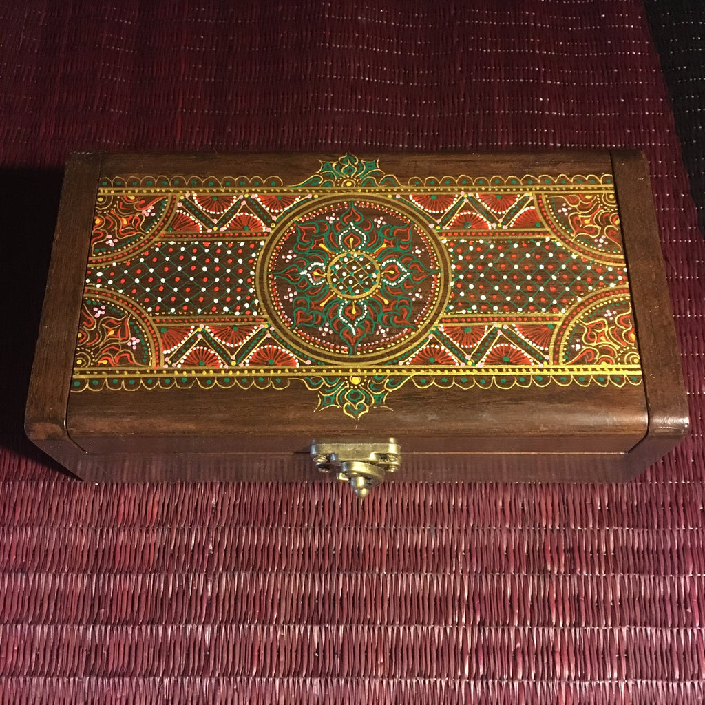 Mandala Wooden Jewelry Keepsake Box | Teak Wood-Thai Artist Collective