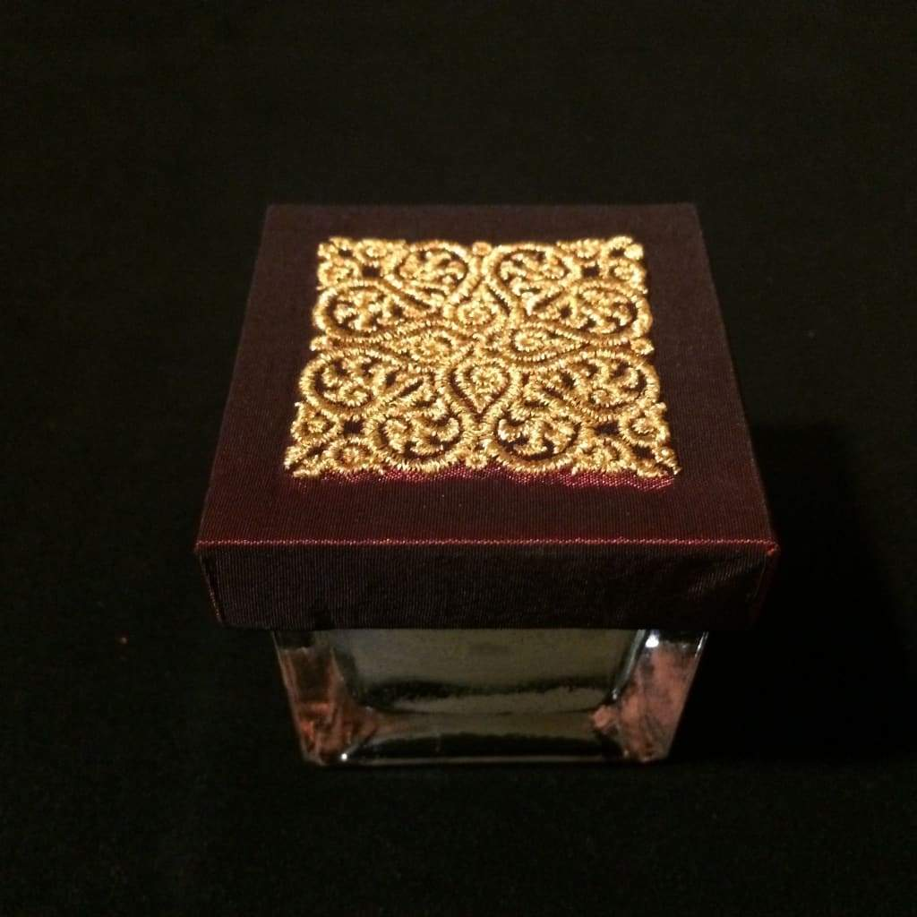 Neroli Scented Candle / Glass Box / Thai Design - Red / Gold - Thai Handicrafts