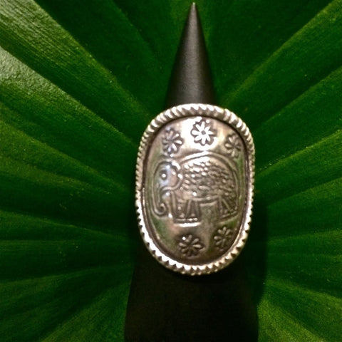 Sterling Silver Elephant Ring / Thai Karen Hill Tribe - 98.5