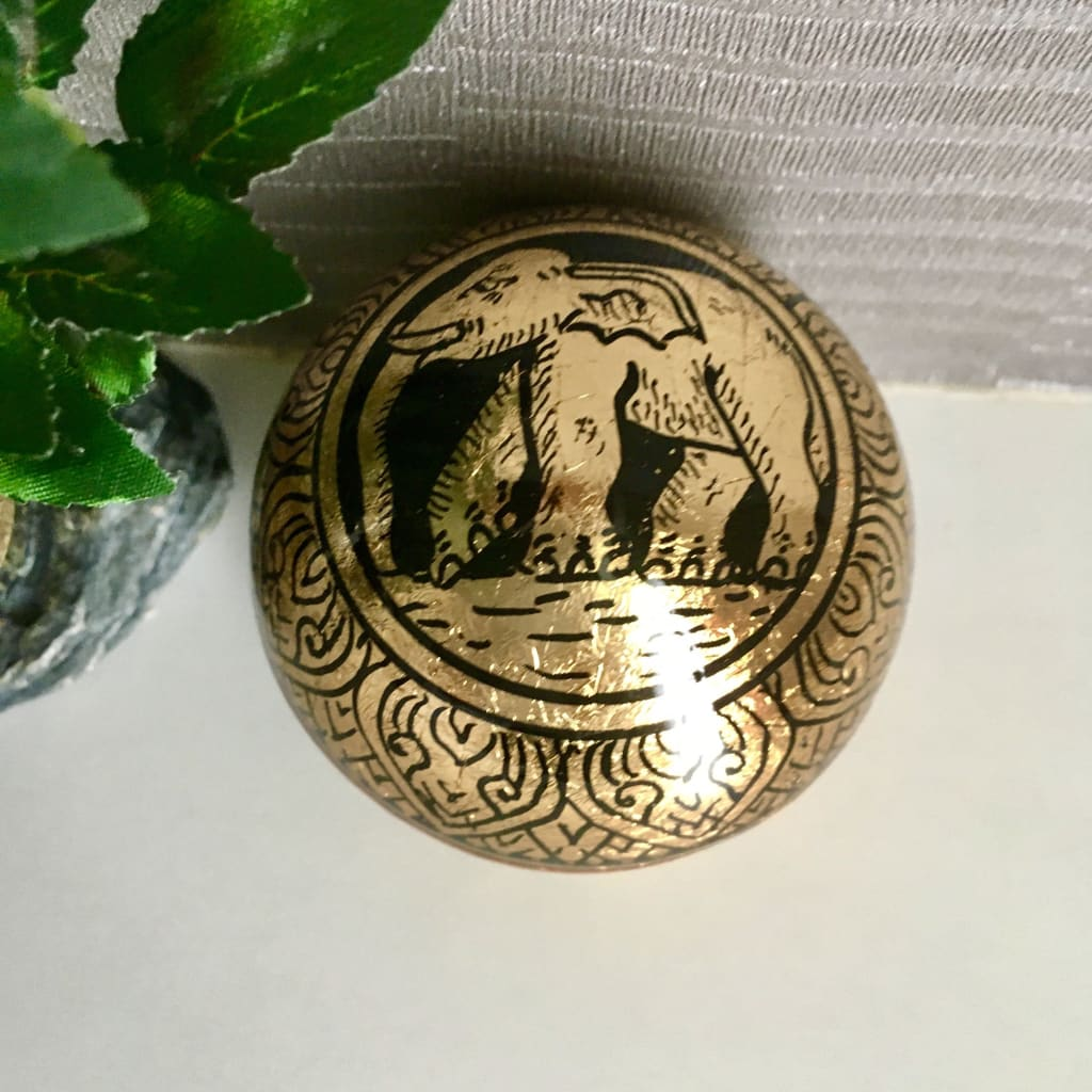 Thai Elephant Golden Lacquerware Jewelry / Ring Box | Gold Leafed | Round Ball - S - Thai Handicrafts