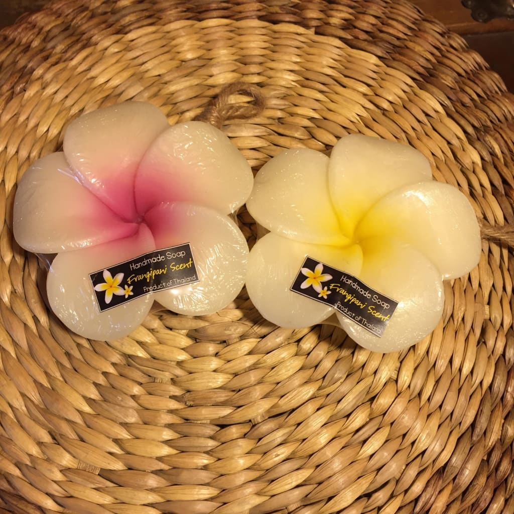 Thai Handmade Flower Soap On The Rope | Plumeria Frangipani - Thai Spa / Soaps / Oils