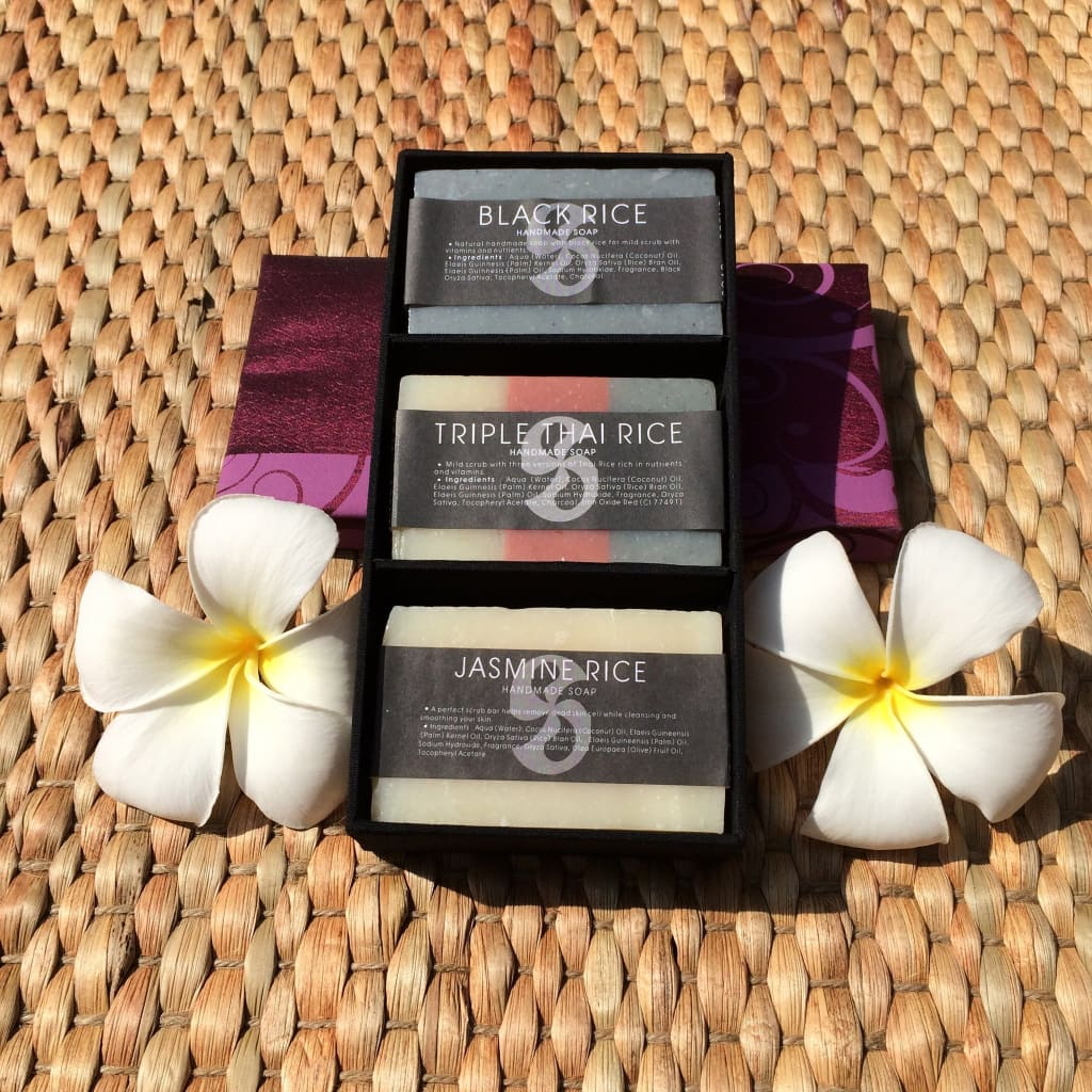 Thai Herbal Rice Soap Gift Box Of 3 Soaps - Thai Spa / Soaps / Oils
