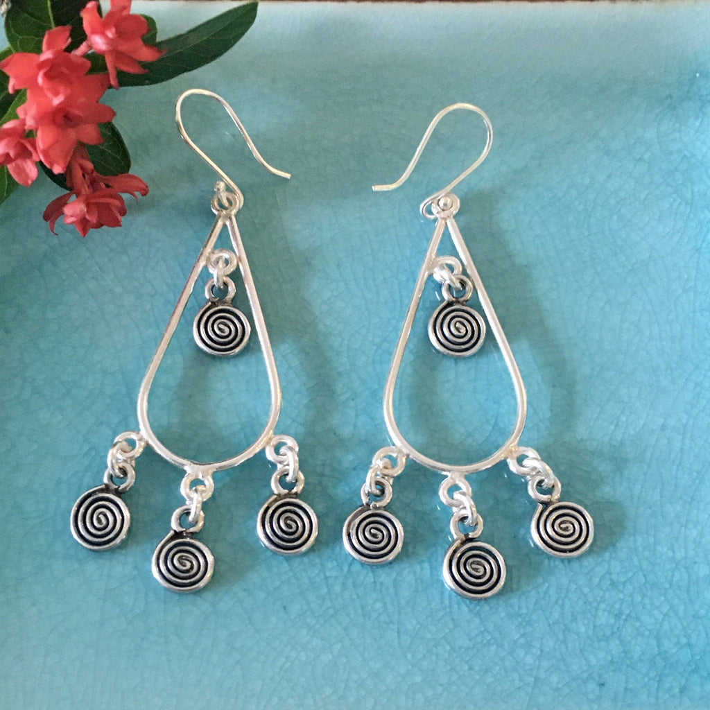 Thai Hill Tribe Silver Earrings | 4 Spiral Raindrop | Karen Handmade 98.5% Silver-Thai Artist Collective