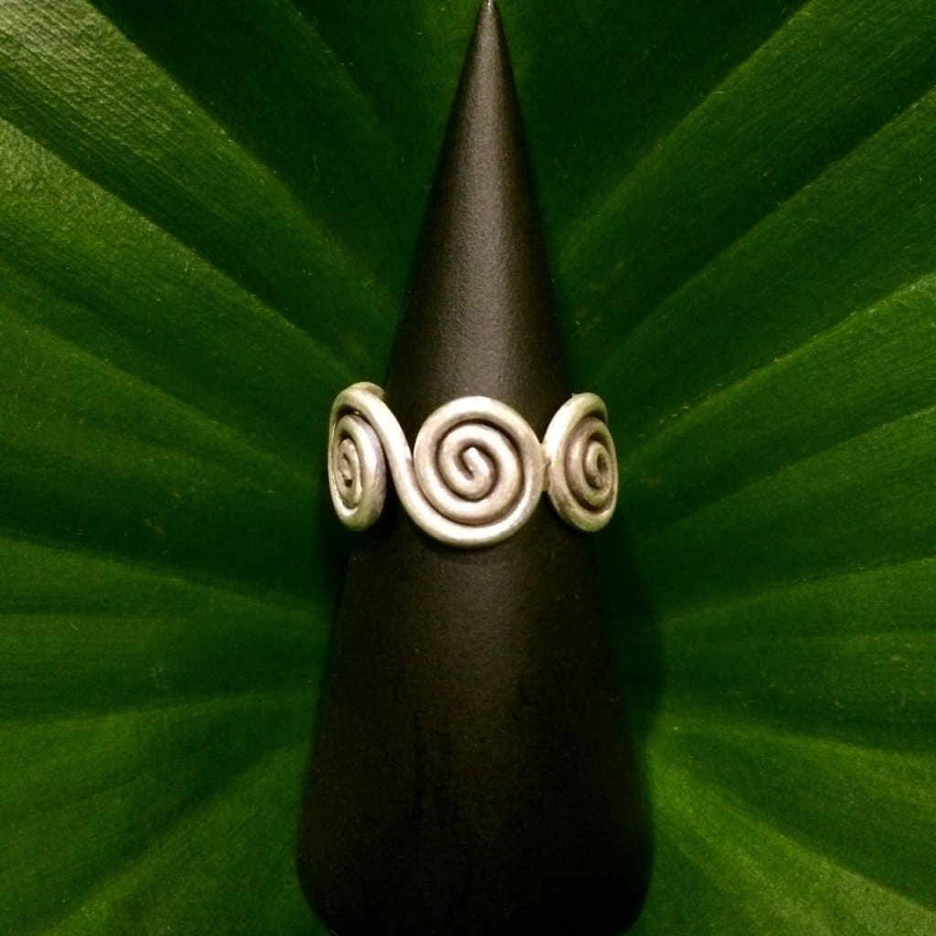 Thai Karen Hilltribe Silver Ring - Multi Spiral Band Design - Karen Hill Tribe Silver Ring