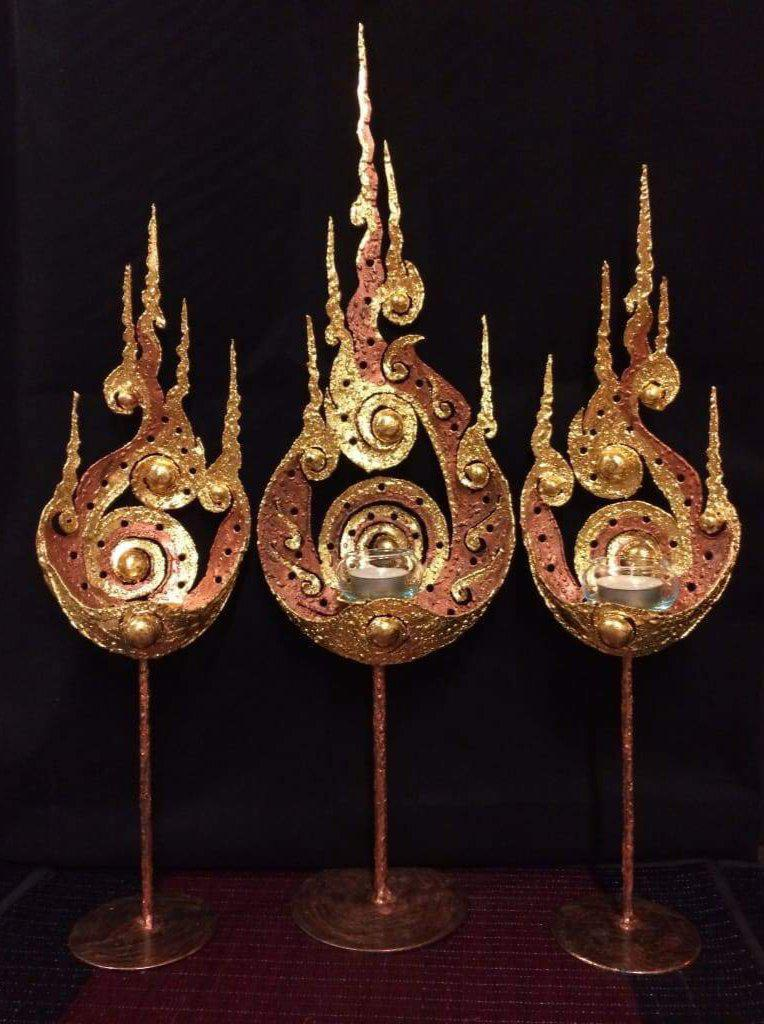 Thai Metal Art Votive Candle Holder - 3 piece set-Thai Artist Collective