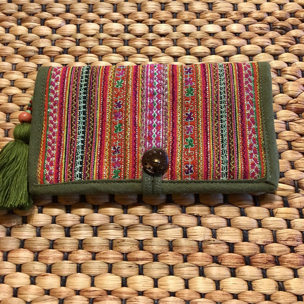Womens Long Wallet | Upcycled Hmong Fabric | Hemp & Cotton