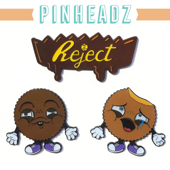 REJECTS 3Pack Enamel Pin Set! by  One Eyed Girl  x  Martian Toys