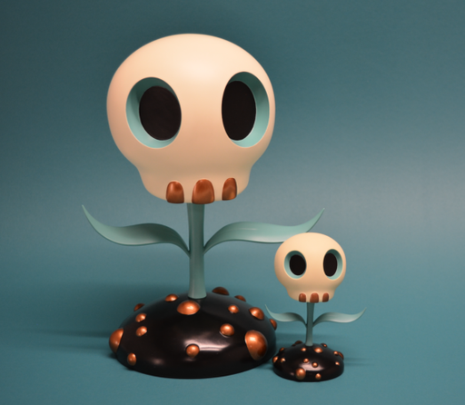 Skull Flowers BLUE by Tara McPherson 12""
