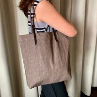 Brown Denim Tote Bag with Genuine Leather Straps