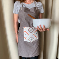 Linen Apron with Geometric Front Pocket