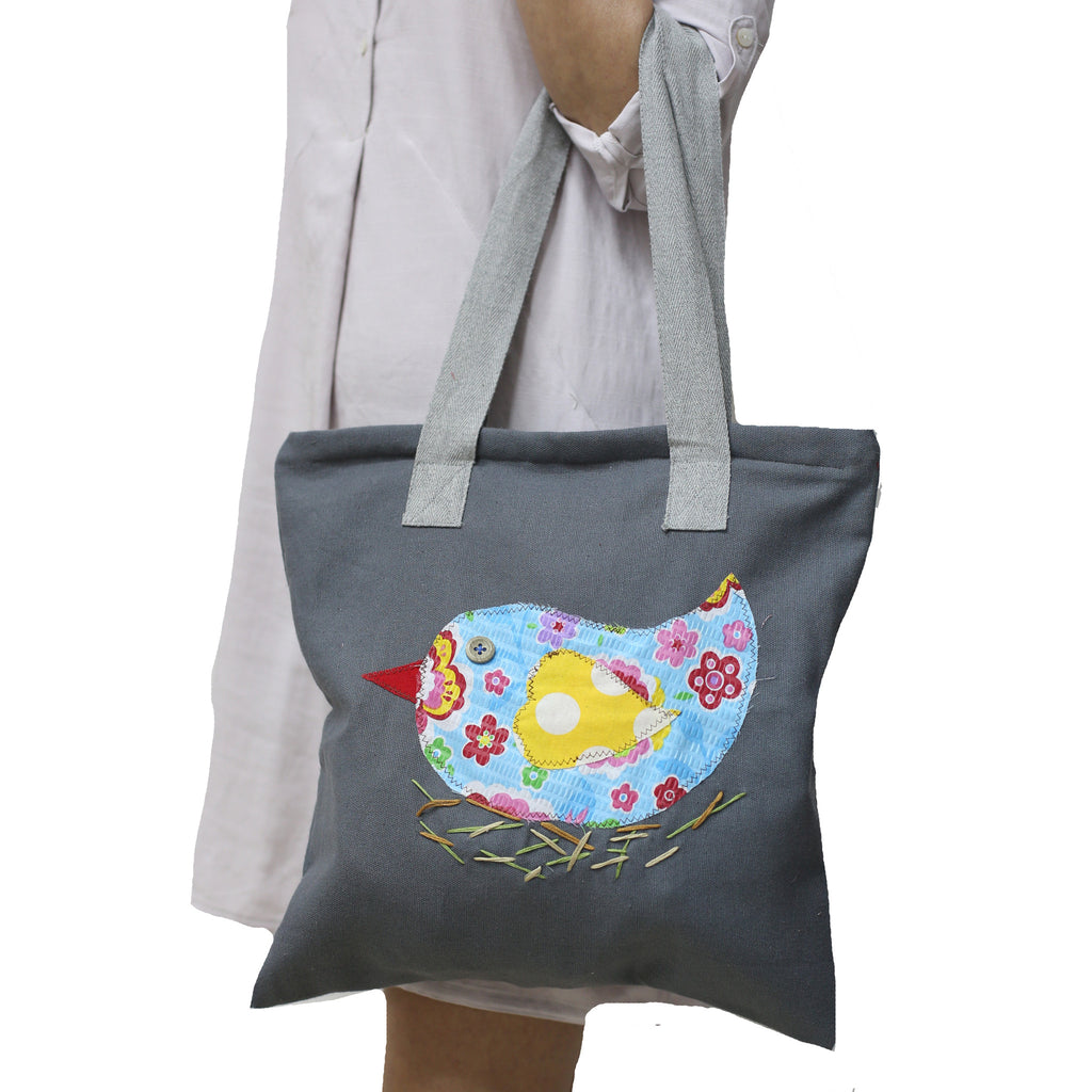 Nesting Birdie Applique Tote Bag