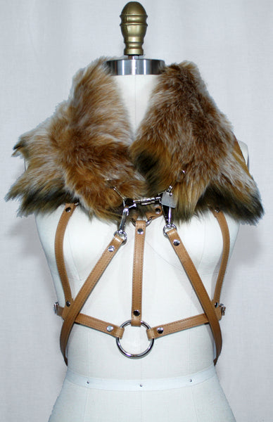 Tan Toscana Fur Scarf with Leather Strap and Harness