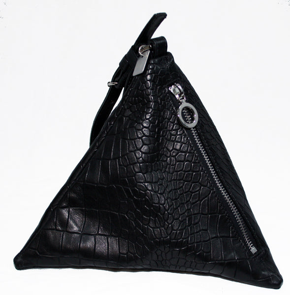 Black Croc Pyramid Bag