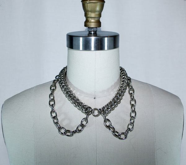 Silver CC Collar Necklace