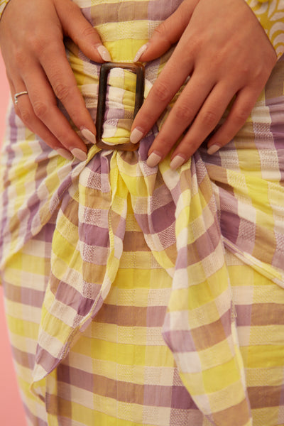 RS1918 Yellow Plaid Buckle Skirt