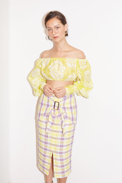 RS1917 Yellow Off-shoulder Crop Top