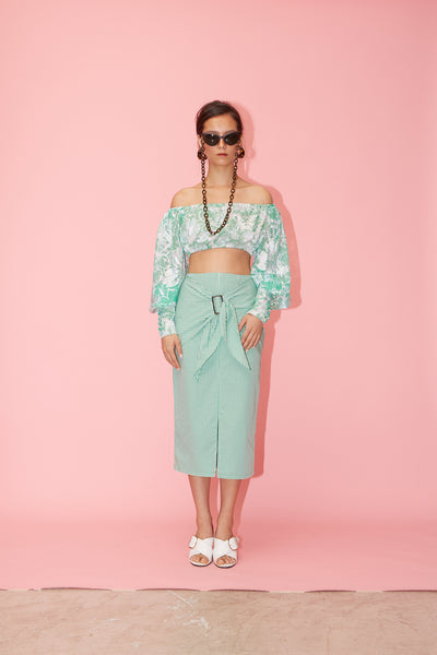 RS1919 Green Off-shoulder Crop Top