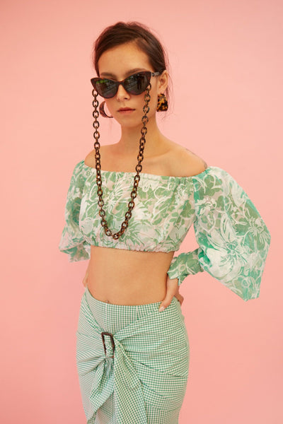 48771cb0ae804 RS1919 Green Off-shoulder Crop Top