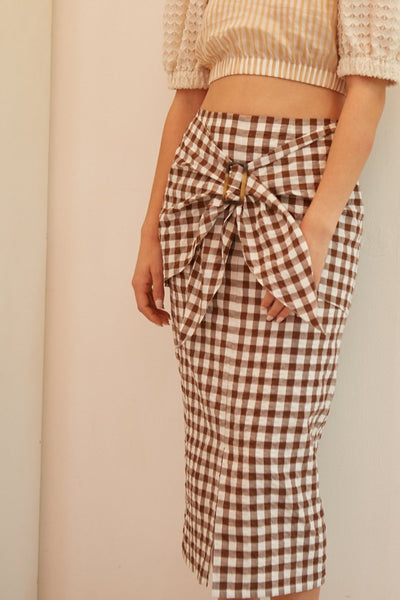 RS1922 Brown Gingham Buckle Skirt