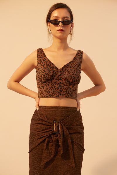 RS1924 Brown Textured Buckle Skirt