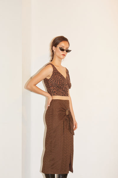 RS1923 Brown Leo Button-down Crop Top