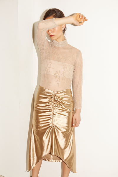 RS1926 Gold Ruched Skirt