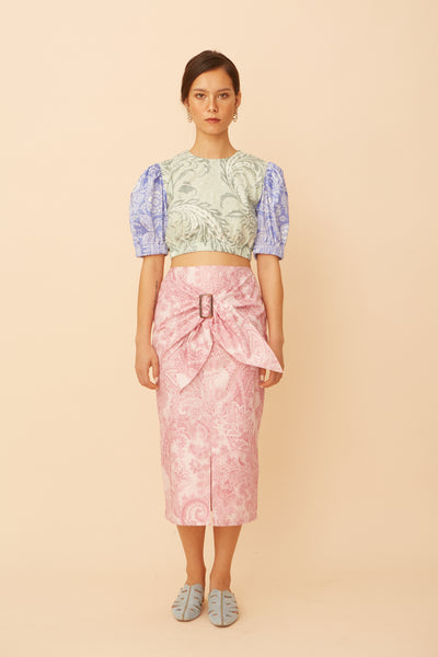 RS1928 Pink Paisley Buckle Skirt