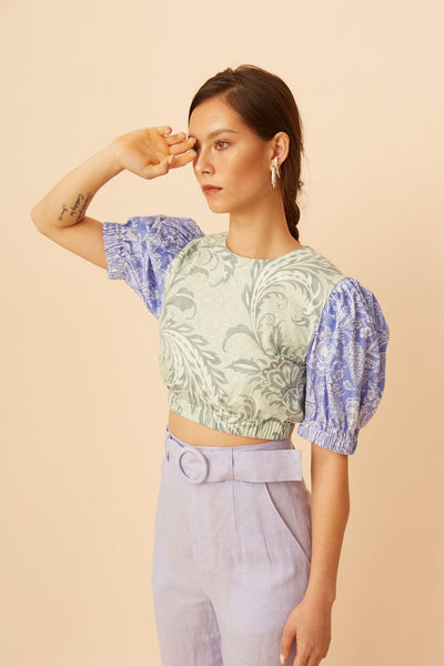 RS1927 Paisley puff-sleeve Top