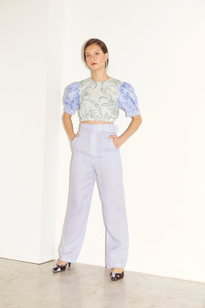 RS1929 Lilac Linen Buckle Pants