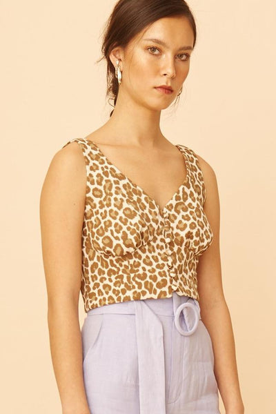 RS1930 White Leo Button-down Crop Top