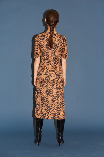 RS1932 Brown Cheetah Front Slit Dress
