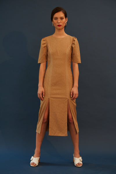 RS1934 Beige Textured Front Slit Dress