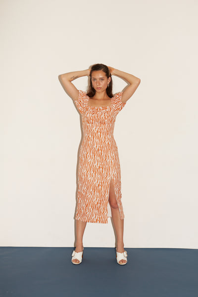 RS1935 Orange Zebra Puff-sleeve Dress