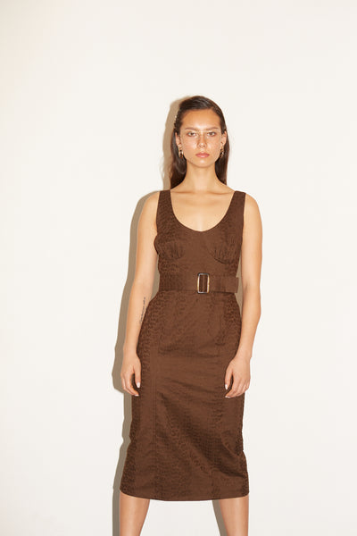 RS1937 Brown Textured Buckle Dress