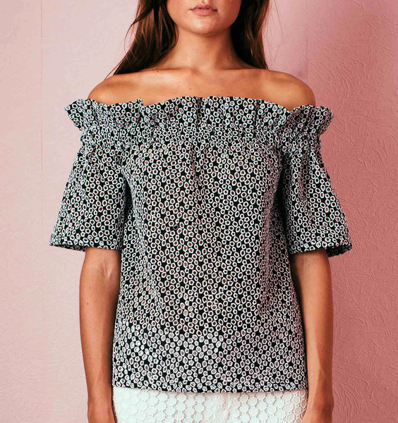 Off-shoulder Eyelet Top - BW