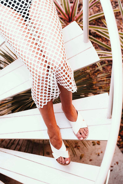 Long Sleeve Net Maxi Dress - White