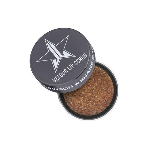 Jeffree Star Cosmetics Velour Lip Scrub in Diet Rootbeer scent in brown color