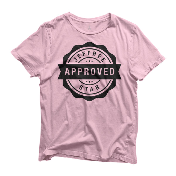 Baby pink tee with jeffree star approved logo in black