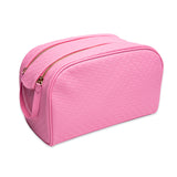 Pink double zipper star imprinted makeup bag | Image 1