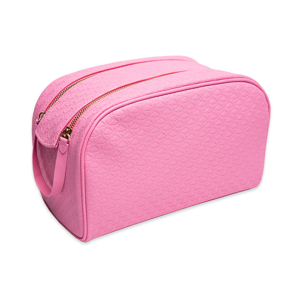 Pink double zipper star imprinted makeup bag