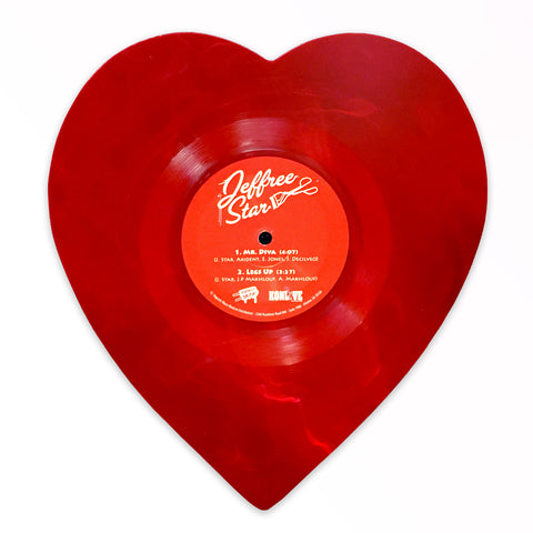 "'Mr. Diva' 7"" Transparent Red Swirl Heart-Shaped Vinyl"