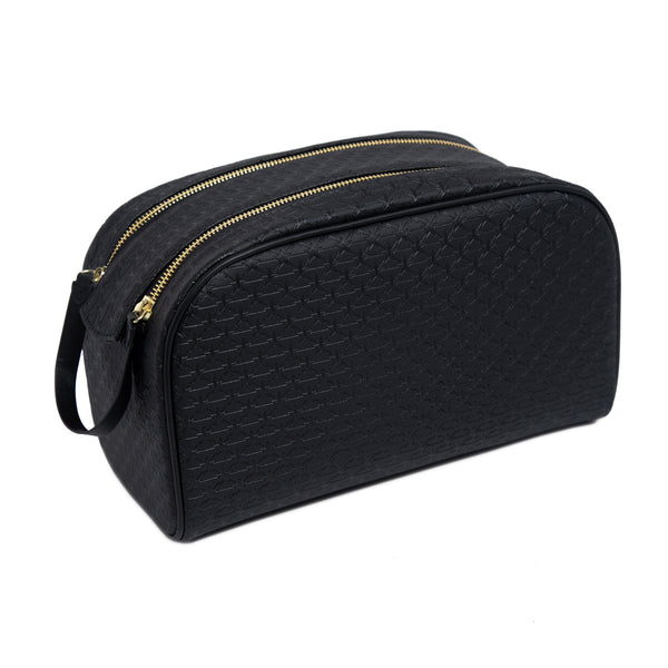 Black double zip makeup bag with Jeffree Star logo repeating imprint